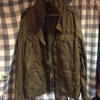 🚚 H&M 軍綠 黑 M65軍裝外套
