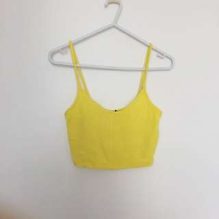 TOPSHOP Cropped Singlet Canary Yellow