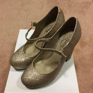 Lipstik Shoes Gold Glitter Mary Janes Size 6