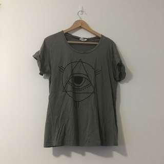 Large Army Green Graffic T-shirt