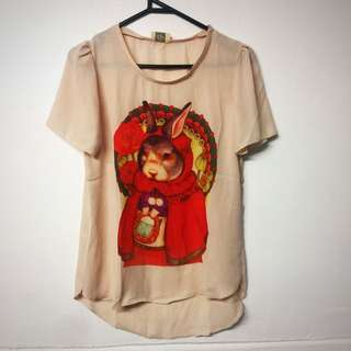 Peach Bunny Red Riding Hood Top
