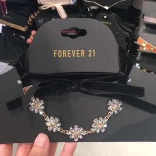 Forever21 黑色絨面綁帶閃石頸帶 韓風