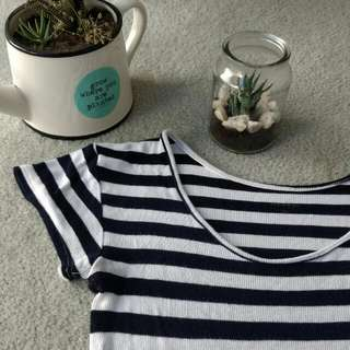 Ally Striped Navy Blue Top