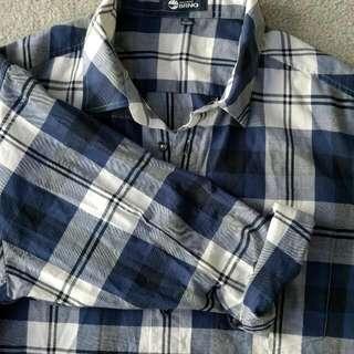 StreetWear Blue Flannel Style Button Up
