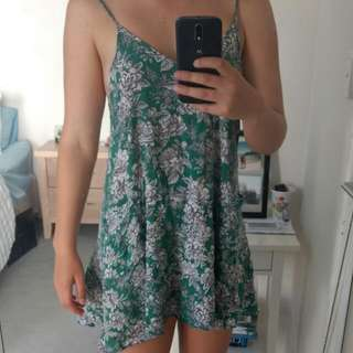Valleygirl Green And White Floral Dress With Pockets