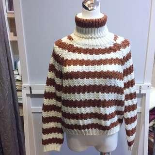 出清 雙色高領毛衣X2