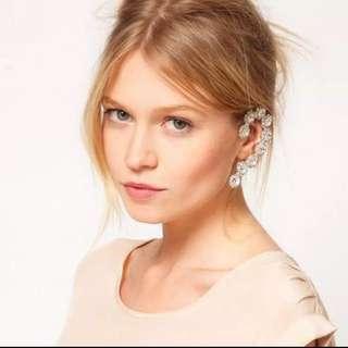 🗽🆕單耳精靈 花型簡約滿鑽水晶寶石耳骨耳掛耳環兩色(銀色&七彩白鑽)