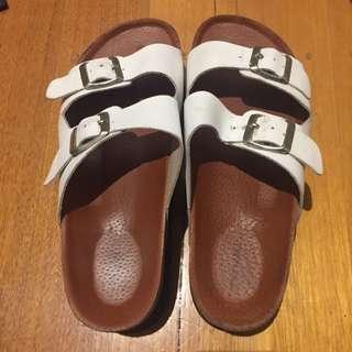 Tony Bianco White Leather Platform Flatform Slides Slippers