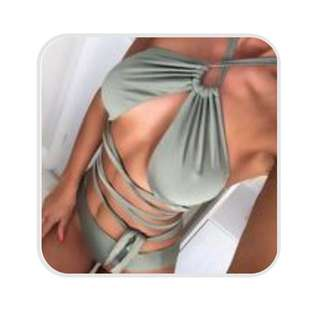 Dress Me Zara Size Medium Wrap Two Piece Khaki Bikini