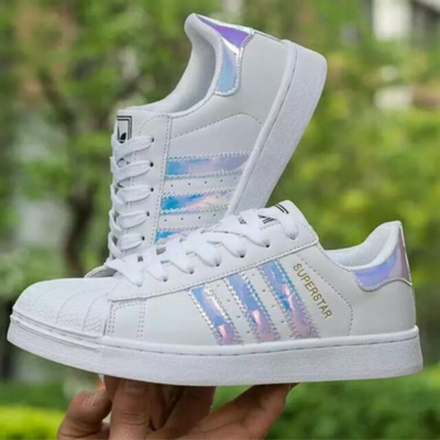 Size 39) Brand New Inspired Adidas Superstar Holographic