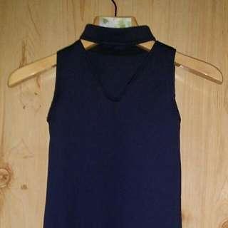 Navy Blue V-Neck Dress