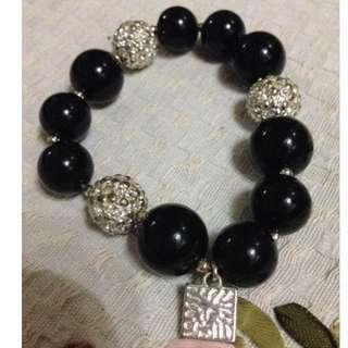 Original Anne Klein Beaded Black Gems Stretch Bracelet