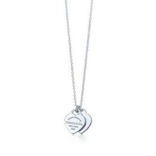 Tiffany & Co Mini Double Heart Tag Pendant on Sterling Silver Chain
