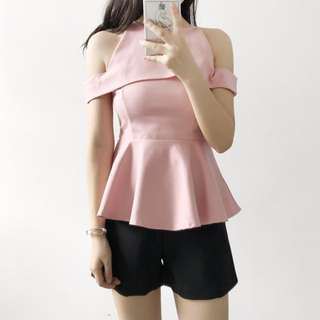 CNY Gorgeous Off-Shoulder Peplum in Blush