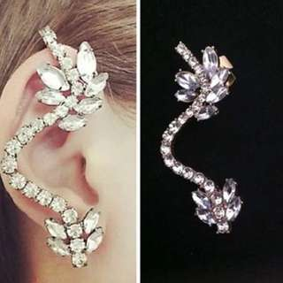 🆕✈️單耳精靈 超閃滿鑽水晶寶石耳骨耳掛耳環(銀色)
