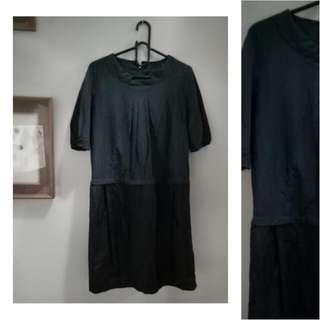 Maternity Black/Navy Blue Block Dress