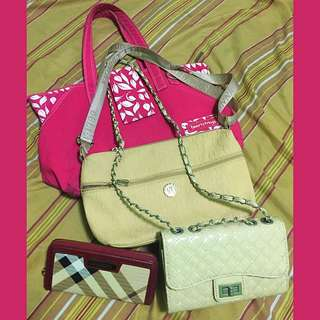 Preloved bags and wallet take all for only 500