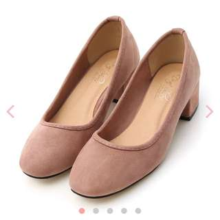 小腳女孩限定✨D+AF素面絨料小方頭粗跟鞋-裸膚粉22.5