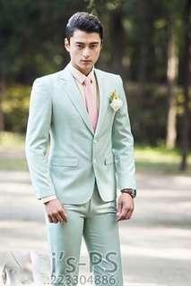 men's England Slim fruit green suit suit best man Evening performances master of ceremonies presided over the dress