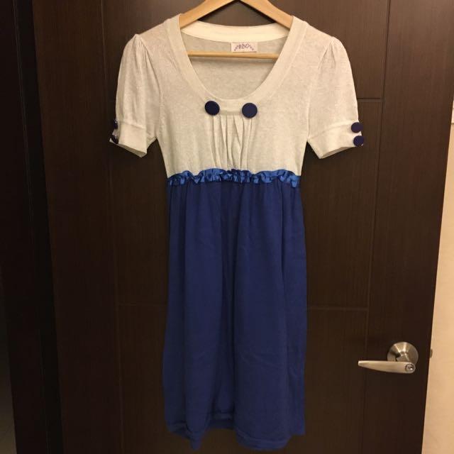 《2手商品》藍色後綁帶洋裝