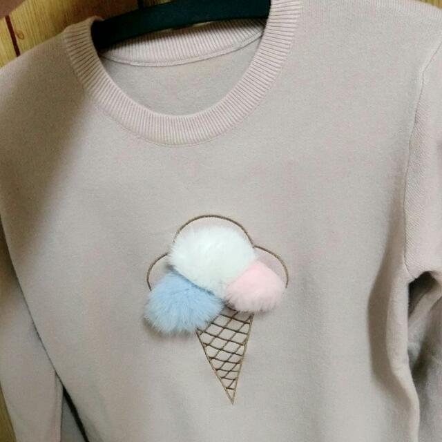 藕粉色好摸毛衣