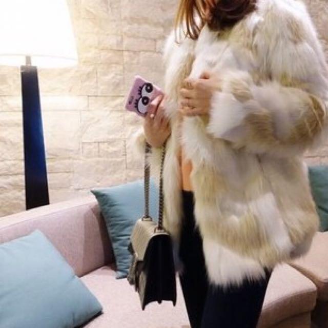 全新✨正韓奢華混色皮草毛毛外套