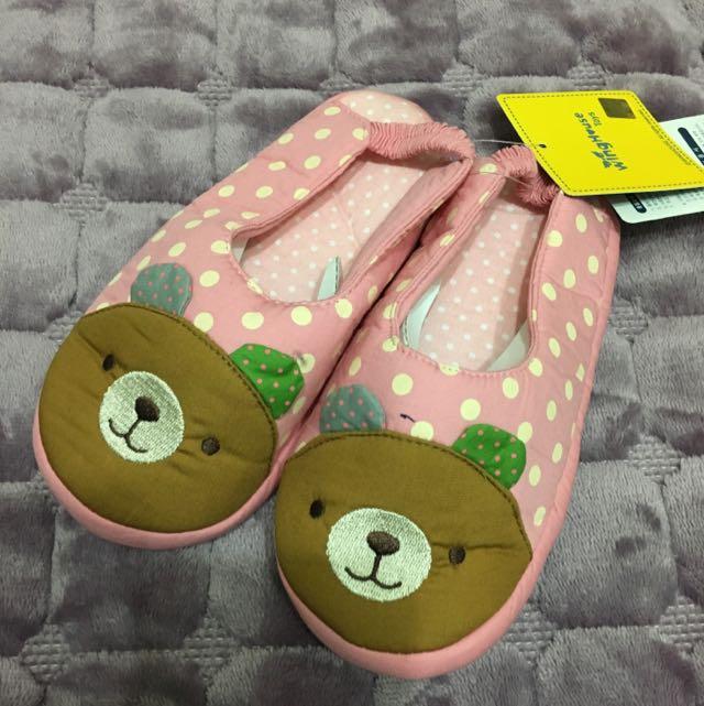 韓-熊熊頭兒童室內拖/學步鞋
