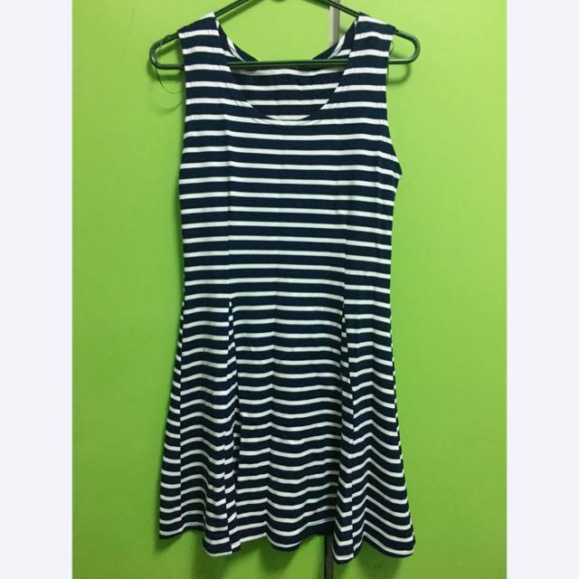 (全新) 深藍條紋無袖背心洋裝  #一百元洋裝