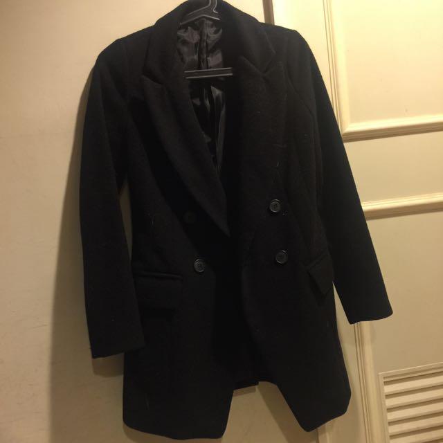 正韓 毛呢修身西裝大衣