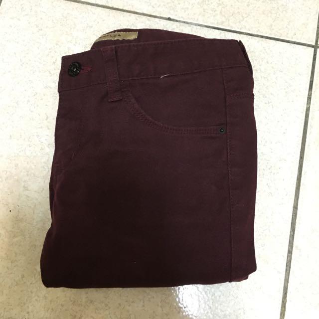 韓製 酒紅窄褲