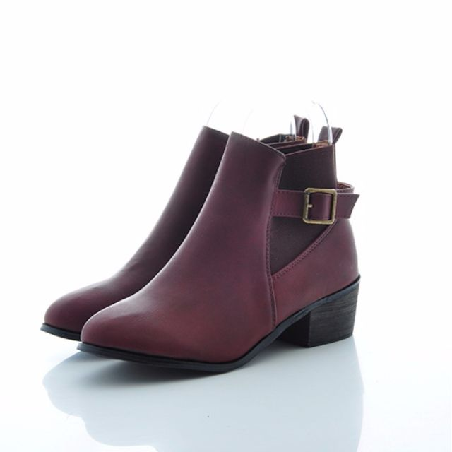 全新39號 暗紅色  短靴 裸靴 買太小 賠錢賣囉!