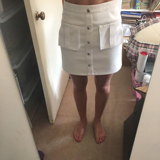 Aje White Mini Skirt