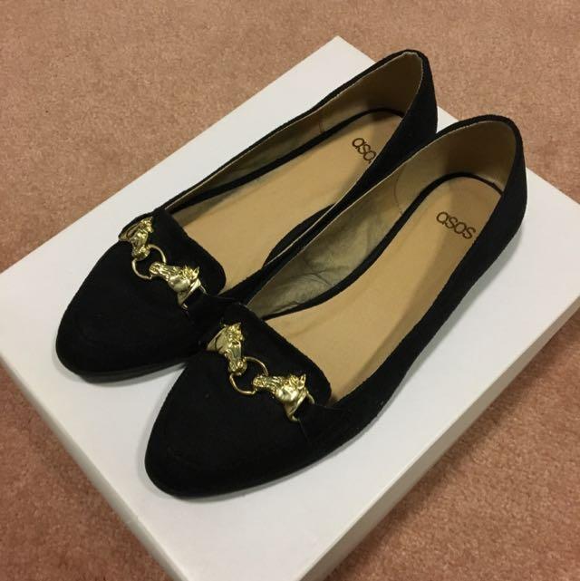 ASOS Black Flats W Gold Details Size 5