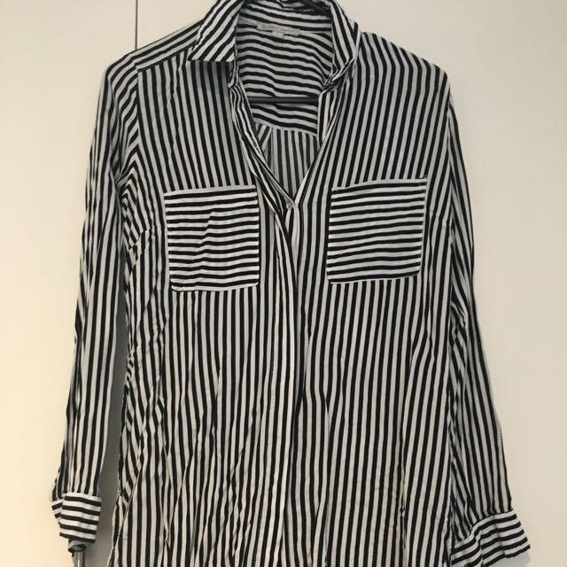 Black And White Striped Button Down Size 8