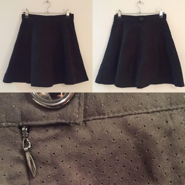 Black Suede Skater Skirt
