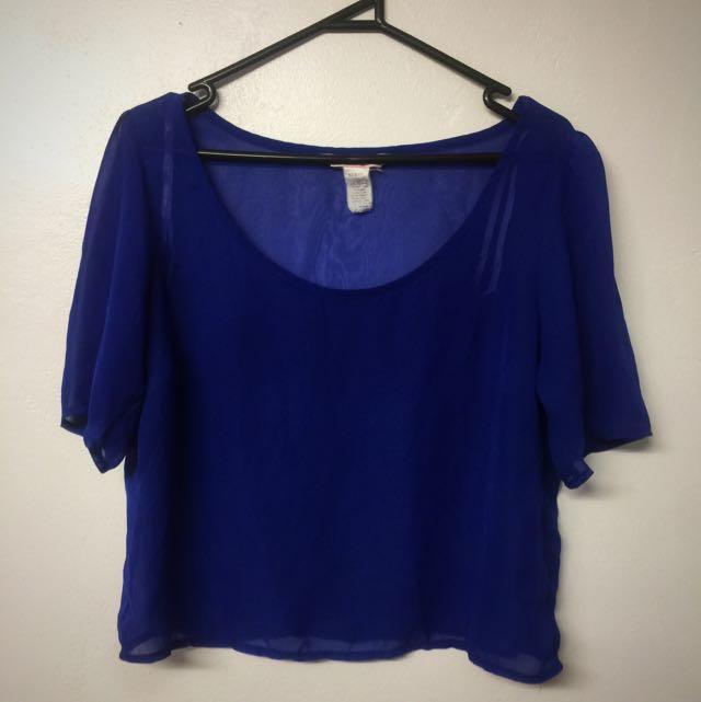 Blue Sheer Crop Top