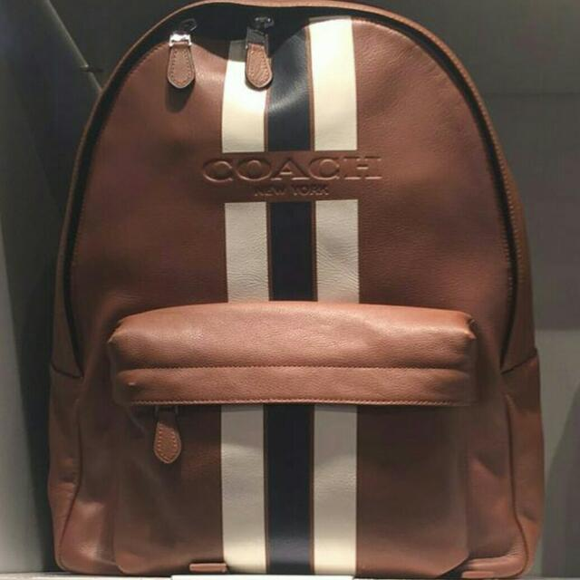 54c8f3362304 ... low price bn coach mens backpack charles backpack in varsity leather  coach f72237 dark saddle midnight