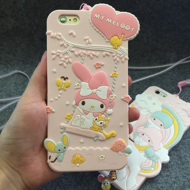 d8cc9d81d Brand New Ready Stocks Instocks My Melody Kiki & Lala Silicon Hand Phone  Cover - Lanyard and Cute Mouse Ear Pluggy - Apple IPhone 6/6S, 6/6S Plus,  7, ...
