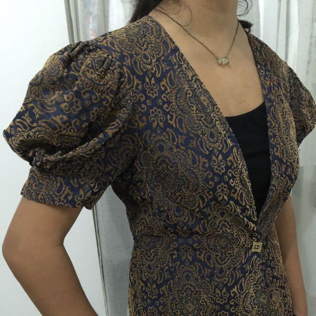 Brocade Velvet Blazer/outerwear With Puff Sleeves