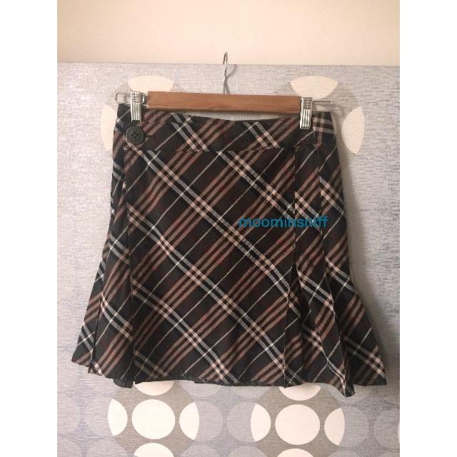 BURBERRY 藍標BLUE LABEL 墨綠格子短裙