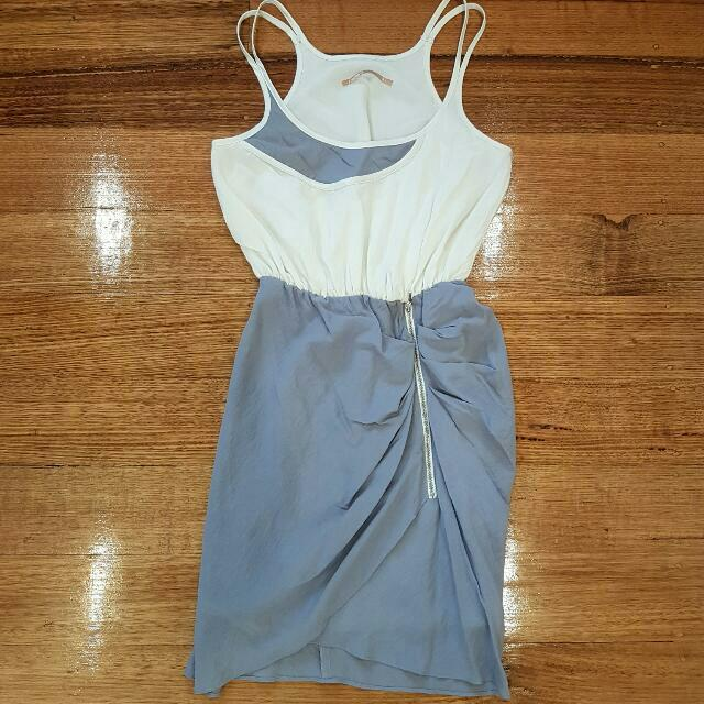 Cooper St Size 8 Gorgeous Cocktail Dress White With Grey/blue Skirt Flattering