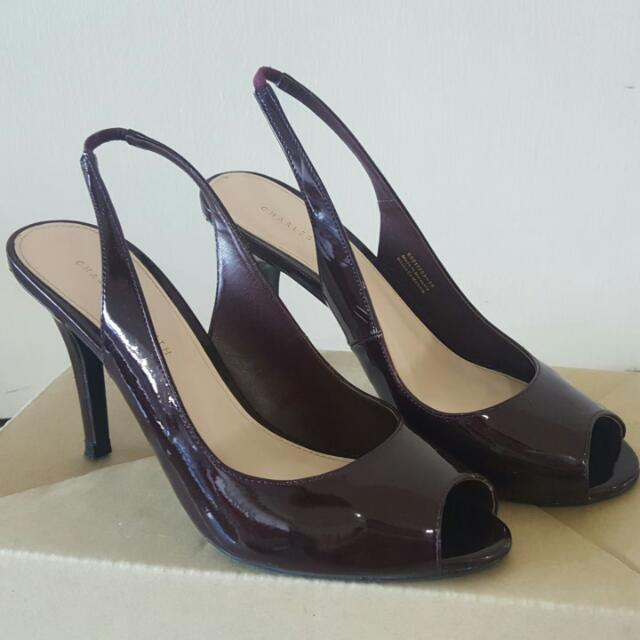 f4782dd7c443 Dark   Wine Red Charles   Keith High Heel Shoes