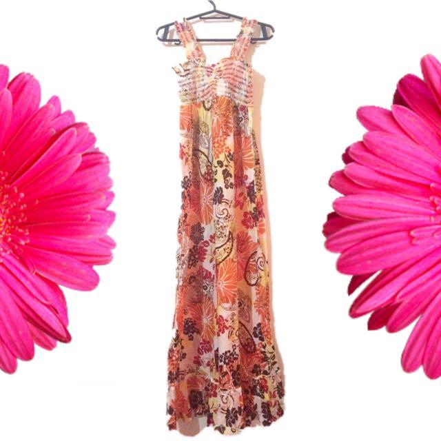 Floral Garterized Top Dress