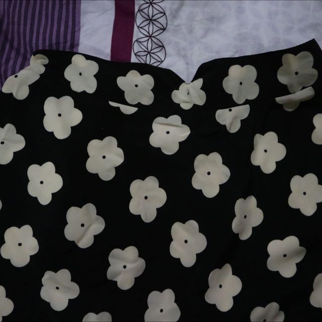 Flowery Black Skirt