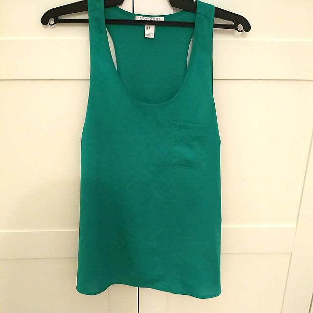 Forever 21 Emerald Satin Tank Top