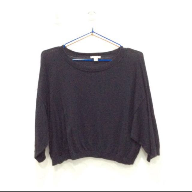 GAP 黑三分长袖 短上衣 Black Crop Top