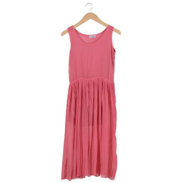 Gaudi Pink Sleeveless Midi Dress