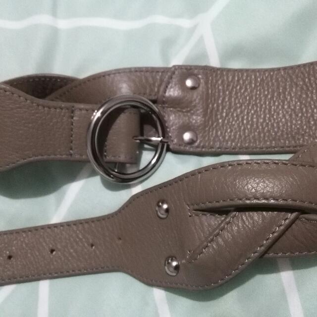 Genuine Grey Leather Belt