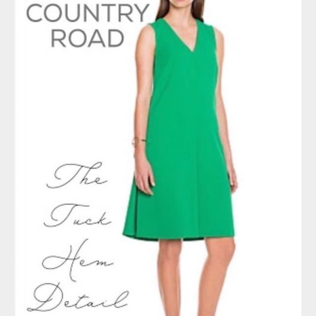 Green Tuck Hem Detail Dress by Country Road BNWT