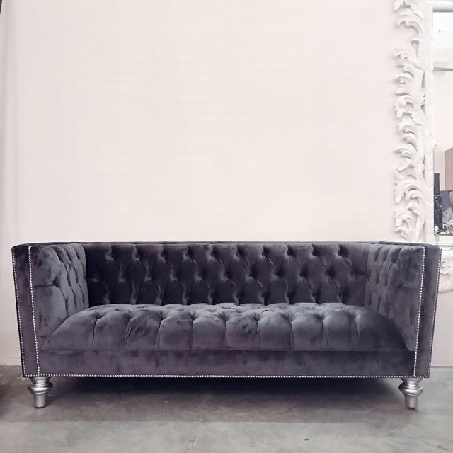 Grey Velvet Chesterfield Sofa, Furniture, Sofas on Carousell